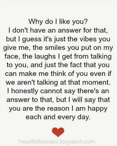 Best love Sayings & Quotes QUOTATION - Image : As the quote says - Description why do i like you.♥ love quotes Sharing is Love - Don't forget to share I Like You Quotes, Cute Love Quotes, Love Yourself Quotes, Why Me Quotes, I Love You Quotes For Him Boyfriend, You Make Me Happy Quotes, Boyfriend Sayings, Simple Love Quotes, Bae Quotes