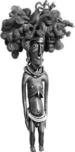 einzige Moai-Tangata-Figur mit echtem Menschenhaar auf dem Kopf