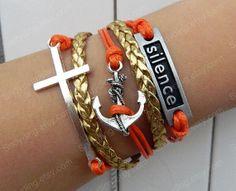 Infinity bracelet  Cross Anchor Bracelet  'silence'  by Colorbody, $5.99