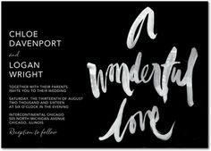 Pure Wonder - Signature White Wedding Invitations - Stina Persson - Black : Front