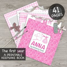 DIGITAL printable personalised baby girl memory book / Baby album / First year book / Baby record book / Baby journal / Baby diary / lace