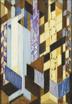 "František Kupka. Vertical and Diagonal Planes. 1913-14. Oil on canvas. 21 3/4 x 15"" (55.2 x 38.1 cm). The Riklis Collection of McCrory Corporation. 1036.1983. © 2017 Artists Rights Society (ARS), New York / ADAGP, Paris. Painting and Sculpture"