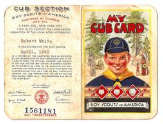 My Cub Scout Membership Card 1946 Boy Scout Troop, Cub Scouts, Girl Scouts, Vintage Ephemera, Vintage Postcards, Vintage Images, Cubs Cards, Eagle Scout Ceremony, Robert White