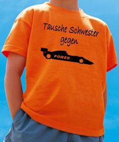WITZIGES TAUSCHE SCHWESTER GEGEN FORMEL 1-AUTO KINDER T-SHIRT! VERSANDKOSTENFREI