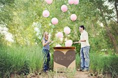 the photographer got the call from the ultrasound technician and then revealed the sex of the baby by letting the couple open a box full of pink balloons
