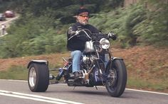 Billy Connolly on his motorbike in 1996