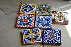 ✔ About 40 pieces of 6x6 tiles ~ ~ ~ ~ ~ ~ ~ ~ ~ ~ ~ ~ ~ ~ ~ ~ ~ ~ ~ ~ ~ ~ ~ ~ ~ Add a special touch to any area or project with these unique beautiful Mexican tiles. Designs exactly as the photo!  Size: 6 x 6 inches -You can choose the same design or you can choose any design shown on this store (which is the measure of 6x6) to complete the number of tiles you want. -If you want less or more tiles please tell me and I will gladly prepared a custom box with designs that tell me…