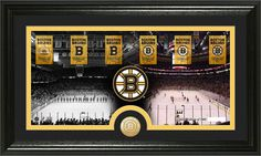 Boston Bruins Stanley Cup Championship Banners Framed Picture