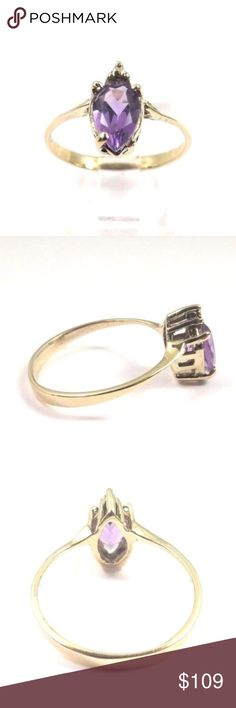 10k Yellow Gold Women's Ring With Amethyst Stone Hi, Here we have a beautiful 10k Yellow Gold Women's Ring With Pear Shaped Amethyst February Birthstone.  Weight: 1.7g. Width: top 11 x 6mm. The perfect gift for your loved one. Comes with a free gift box. Thanks for looking and have a great day.   Sizable:Yes  Base Metal:Yellow Gold  Main Stone Color:Purple  Metal Purity:10k  Main Stone Creation:Natural  Main Stone:Amethyst  Metal:Yellow Gold  Occasion:Birthday  Ring Size:7.75  Main…
