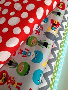 Super Kids Boys superhero quilt or craft fabric bundle by Ann Kelle for Robert Kaufman- Fat quarter Bundle, 5 total on Etsy, $15.00