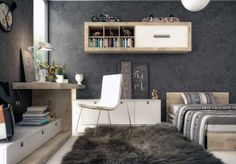 Grey teenager study room with wood work table, wood single bed, striped bedcover and pillow and grey fur rug