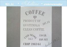 """Wandschablonen - Schablone """"COFFEE"""" - DIN A4 - ein Designerstück von atelier1944 bei DaWanda"""