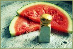 We put salt on our watermelon