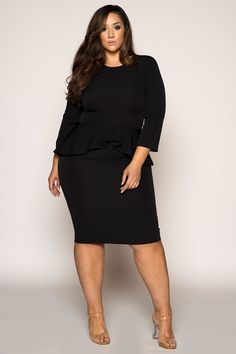 ed72f80546e5b Boss Girl peplum Dress. Black Women FashionCurvy Girl FashionPlus Size ...