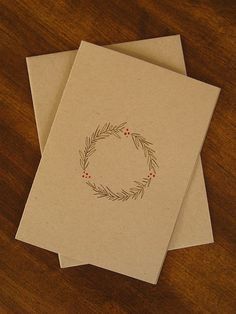 Very simple christmas cards (Simple Diy Gifts) Simple Christmas Cards, Noel Christmas, Christmas Crafts, Christmas Wreaths, Diy Holiday Cards, Christmas Card Designs, Handmade Christmas Cards, Christmas Cards Drawing, Chrismas Cards