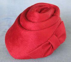 Vintage Schiaparelli of Paris , Red Fur Felt Ladies Hat , Made in Austria | eBay