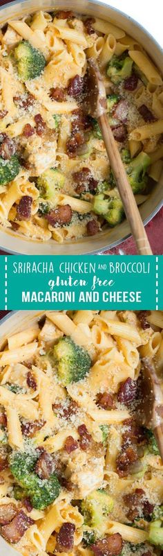 Sriracha Chicken and Broccoli Gluten Free Macaroni and Cheese is the perfect meal for the entire family to enjoy! Gluten free cheesy pasta is combined with chicken and broccoli and then topped with gluten free bacon breadcrumbs. Cheesy Pasta Recipes, Easy Chicken Dinner Recipes, Easy Casserole Recipes, Best Chicken Recipes, Shrimp Recipes, Recipes Dinner, Easy Weeknight Meals, Quick Easy Meals, Easy Dinners