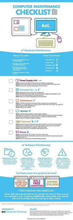 Computer Maintenance Checklist - Happy Computer Tips Computer