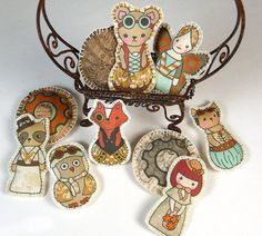 Micro Plush Kit Sew 10 Tiny Toys   Steampunk by DollProject, $10.00