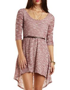 Belted Sweater Knit High-Low Dress: Charlotte Russe