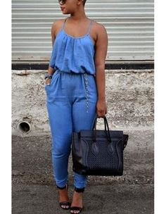 Sky Blue Cami Spaghetti Strap Back Less Long Rompers Womens Jumpsuit