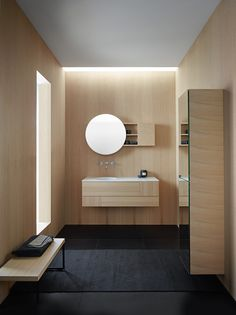 Burgbad's new bathroom furniture collection is designed with graphic, almost minimalistic clarity but with a surprisingly soft appeal: slender, delicate and style-conscious, but also unobtrusive and understated. The collection seems tailor-made for sophisticated, urban interior design. It plays with round and angular shapes, symmetry and asymmetry, vertical and horizontal lines and interprets the bathroom as a an aesthetic island of calm. / design lievore altherr molina for Burgbad