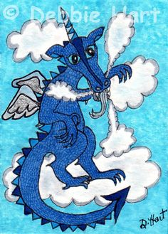 Original ACEO TW SEP Blue Sky Cloud Dragon DEBBIE HART P4PMJFF Silver Wings NEW #Whimsical