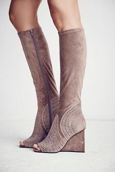 Monaco Wedge Boot   In a super luxe oh-so soft suede, these tall boots feature an open toe and perforated detailing with a modern block wedge heel. Sexy Boots, Tall Boots, Fab Shoes, Shoes Heels, Neutral Boots, Wedge Boots, Shoe Collection, Wedges, Boho Chic