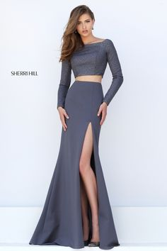 Cheap Sherri Hill 50209 Grey Two Piece Slit Long Sleeves Beaded Prom Gown