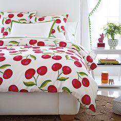 Cherry Duvet & Sham Bedding - cute for summer.