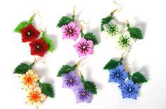 Flower Beaded earrings Small earrings Handmade earrings Pink earrings Funny earrings Dangle e. Small Earrings, Pink Earrings, Seed Bead Earrings, Flower Earrings, Dangle Earrings, Beaded Earrings Patterns, Beading Patterns, Art Perle, Bead Jewellery