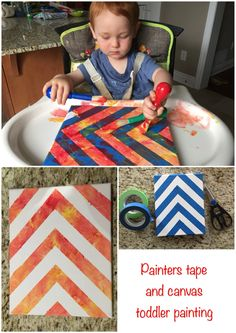 Toddler one year old ginger baby painting on canvas from Micheals using painters tape in a herringbone chevron pattern. Fun sensory activity for baby!
