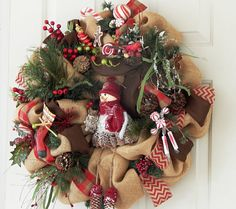 Burlap Country Christmas Wreath with by PataylaFloralDesigns, $65.00
