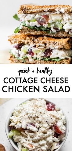 Easy COTTAGE CHEESE CHICKEN SALAD SANDWICH recipe that& made with cottage cheese in place of mayo, and includes grapes and celery, for a healthy lunch option. Healthy Nutrition, Healthy Snacks, Healthy Eating, Healthy Recipes, Nutrition Chart, Fast Recipes, Child Nutrition, Beef Recipes, Sandwiches
