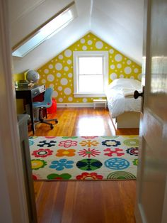 Attic Spaces Design, Pictures, Remodel, Decor and Ideas. Love the dots.