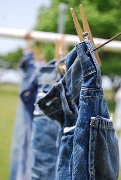 Blue jeans are very heavy for a little girl to hang up while wet. I remember that. Plus momma had me put those stretcher things inside my dad's work jeans.