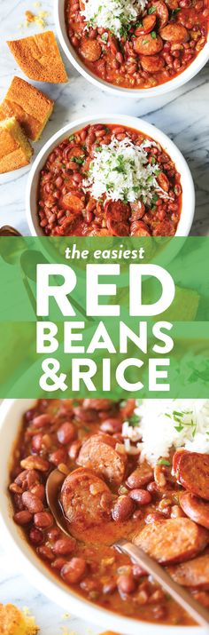 Red Beans and Rice - So thick, so creamy and so flavorful! The beans are cooked just right - perfectly tender, served with rice and smoky andouille sausage. Food Dishes, Main Dishes, Cooking Recipes, Healthy Recipes, Bean Recipes, Sausage Recipes, Easy Cooking, Rice Recipes, Soup Recipes