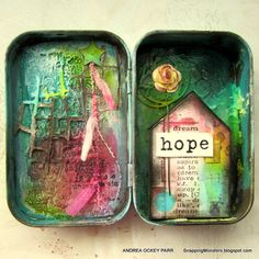 Snapping Monsters: My Other Creations: Embossing Paste Tin Altered Tins, Altered Art, Mint Tins, Tin Art, Prayer Box, Altoids Tins, Tin Boxes, Little Boxes, Alters