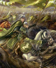 Eowin and Meriadoc in Pelenor's Battle