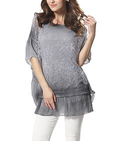 Simply Couture Gray Lace Dolman Tunic | zulily