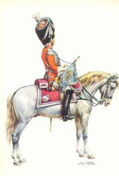 Illustrateurs - Tritt W. Armeé de France 1720-1814 - Les costumes militaires -1814/1815 Grenadiers à cheval du Roi Trompette