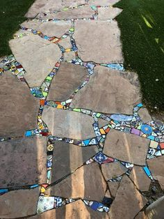 I put concrete between the flagstones and used thinset to adhere the tiles. Mosaic Garden, Mosaic Art, Garden Crafts, Garden Projects, Garden Ideas, Lawn And Garden, Garden Path, Outdoor Projects, Dream Garden