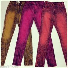New Colored Acid Wash High Waist Jeans Size 7  #nuevamoda #highwaist #jeans #distressedjeans #fashion #trendy #style #highrise #colored #acidwash #fall