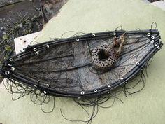 encaustic sculpture, paper, nature, boat - Shannon Weber, Oregon