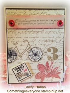 This is made with the Postage Due Stamp set- pg 108 in the lg Stampin' Up 2012-13 catalog.  Looks totally different than the next card.  And that is why I love this set. You can use it so many ways.  I have made so many different cards with it!  Let me know if you are in need of a Stampin' Buddy- or if you would like a catalog.