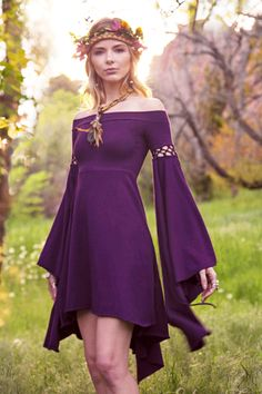 Summers Eve Dress Elven Forest Festival Clothing Ren Faire - Fitness Shirts - Ideas of Fitness Shirts - Summers Eve Dress Elven Forest Bohemian Romantic Elven Dress Festival Clothing Ren Faire Fairy Boho Fun Sleeves Renaissance Pretty Dresses, Beautiful Dresses, Boho Beautiful, Costume Renaissance, Hippie Stil, Hippie Boho, Festival Outfits, Festival Clothing, Festival Dress