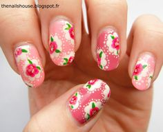 Pink Cath Kidston nail art