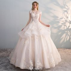 Chic / Beautiful Champagne See-through Wedding Dresses 2018 Ball Gown Scoop Neck Cap Sleeves Backless Appliques Flower Sequins Pearl Ruffle Cathedral Train Wedding Dresses 2018, Princess Wedding Dresses, Bridal Dresses, Formal Dresses, Sheath Wedding Gown, Beautiful Gowns, Pretty Dresses, Marie, Ball Gowns