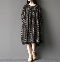 """black Size Shoulder / 20 Sleeve / 16 Bust / 52 """" Waist / 66 """" Length / """" Hem / 70 """" Have any questio. Vintage Dresses, Gray Color, Cool Outfits, Nice Clothes, Style Inspiration, Etsy, Cotton Linen, Sleeves, Women"""