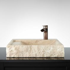 Square Polished Travertine Vessel Sink
